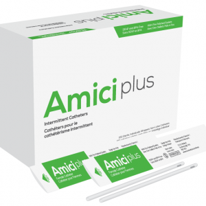 Amici Plus Female Intermittent Catheter with Smooth Low-Profile Eyelets – 10 French, Box of 100